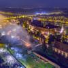 Inscenizacja i fajerwerki - widok z drona